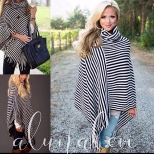 Sweaters - Ladies black and white striped poncho NWT
